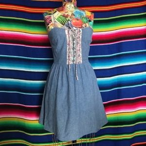Band of Gypsies Denim Tie Bib Dress Jean Smocked